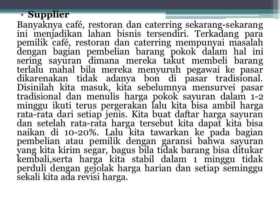 •Supplier Banyaknya café, restoran dan caterring sekarang-sekarang ini menjadikan lahan bisnis tersendiri. Terkadang para pemilik café, restoran dan c