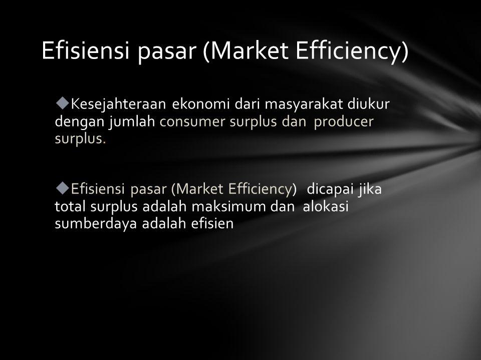  Kesejahteraan ekonomi dari masyarakat diukur dengan jumlah consumer surplus dan producer surplus.