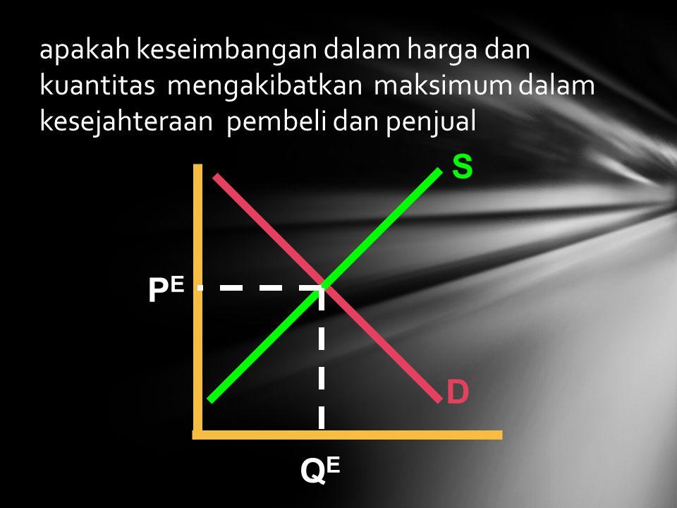 apakah keseimbangan dalam harga dan kuantitas mengakibatkan maksimum dalam kesejahteraan pembeli dan penjual S D PEPE QEQE