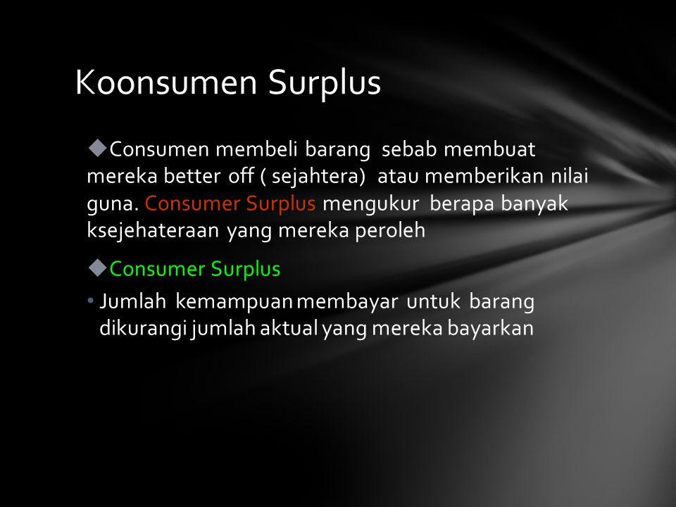  Consumen membeli barang sebab membuat mereka better off ( sejahtera) atau memberikan nilai guna.