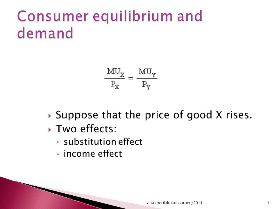  Suppose that the price of good X rises.  Two effects: ◦ substitution effect ◦ income effect 11a.i.r/perilakukonsumen/2011