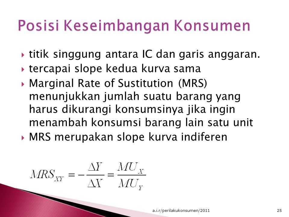  titik singgung antara IC dan garis anggaran.  tercapai slope kedua kurva sama  Marginal Rate of Sustitution (MRS) menunjukkan jumlah suatu barang
