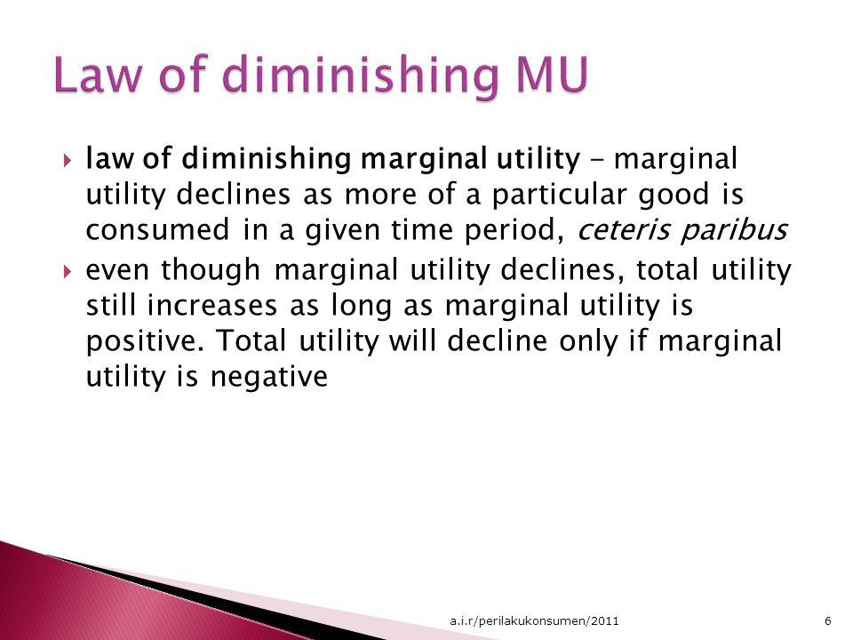 Jumlah barang yang dikonsumsi Utilitas total 012345012345 0 5 9 12 14 15 Jadi utilitas total merupakan jumlah akumulasi dari semua utilitas marjinal yang ditambahkan sejak awal 7a.i.r/perilakukonsumen/2011
