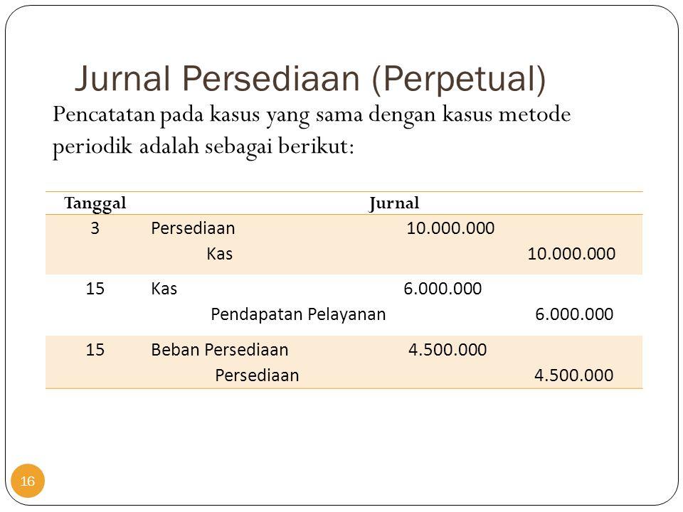 Jurnal Persediaan (Perpetual) TanggalJurnal 3 Persediaan 10.000.000 Kas 10.000.000 15 Kas 6.000.000 Pendapatan Pelayanan 6.000.000 15Beban Persediaan