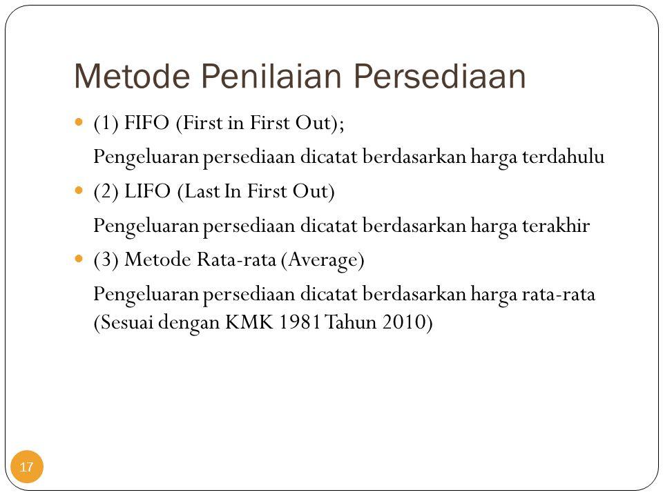 Metode Penilaian Persediaan  (1) FIFO (First in First Out); Pengeluaran persediaan dicatat berdasarkan harga terdahulu  (2) LIFO (Last In First Out)