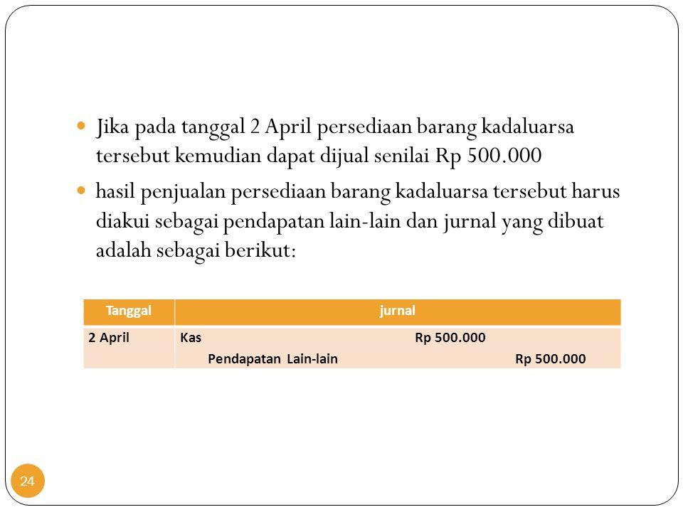 24  Jika pada tanggal 2 April persediaan barang kadaluarsa tersebut kemudian dapat dijual senilai Rp 500.000  hasil penjualan persediaan barang kada
