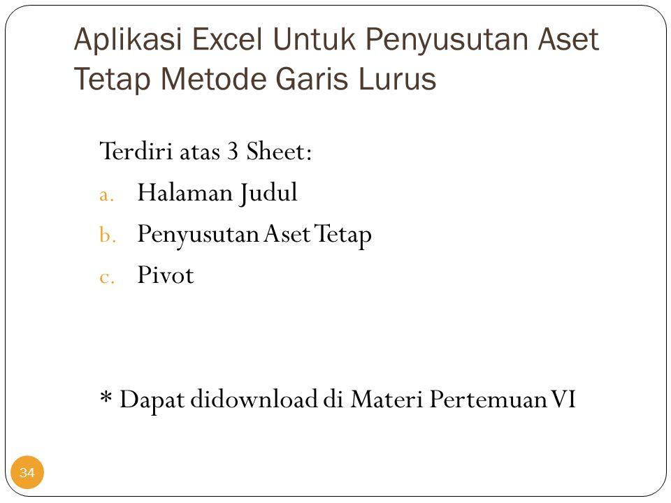 Aplikasi Excel Untuk Penyusutan Aset Tetap Metode Garis Lurus Terdiri atas 3 Sheet: a. Halaman Judul b. Penyusutan Aset Tetap c. Pivot * Dapat didownl