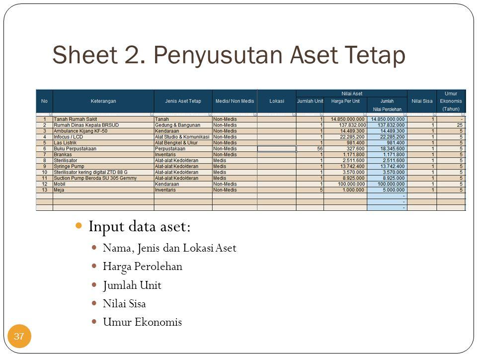 Sheet 2. Penyusutan Aset Tetap  Input data aset:  Nama, Jenis dan Lokasi Aset  Harga Perolehan  Jumlah Unit  Nilai Sisa  Umur Ekonomis 37
