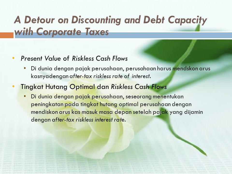 A Detour on Discounting and Debt Capacity with Corporate Taxes •Present Value of Riskless Cash Flows •Di dunia dengan pajak perusahaan, perusahaan har