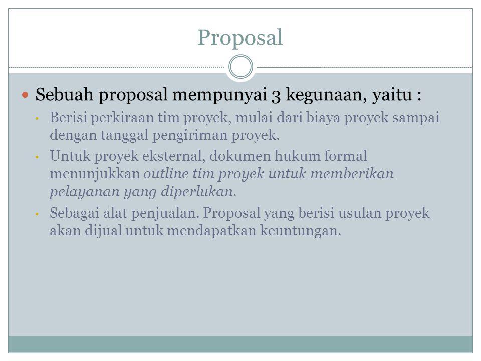 Proposal  Sebuah proposal mempunyai 3 kegunaan, yaitu : • Berisi perkiraan tim proyek, mulai dari biaya proyek sampai dengan tanggal pengiriman proyek.
