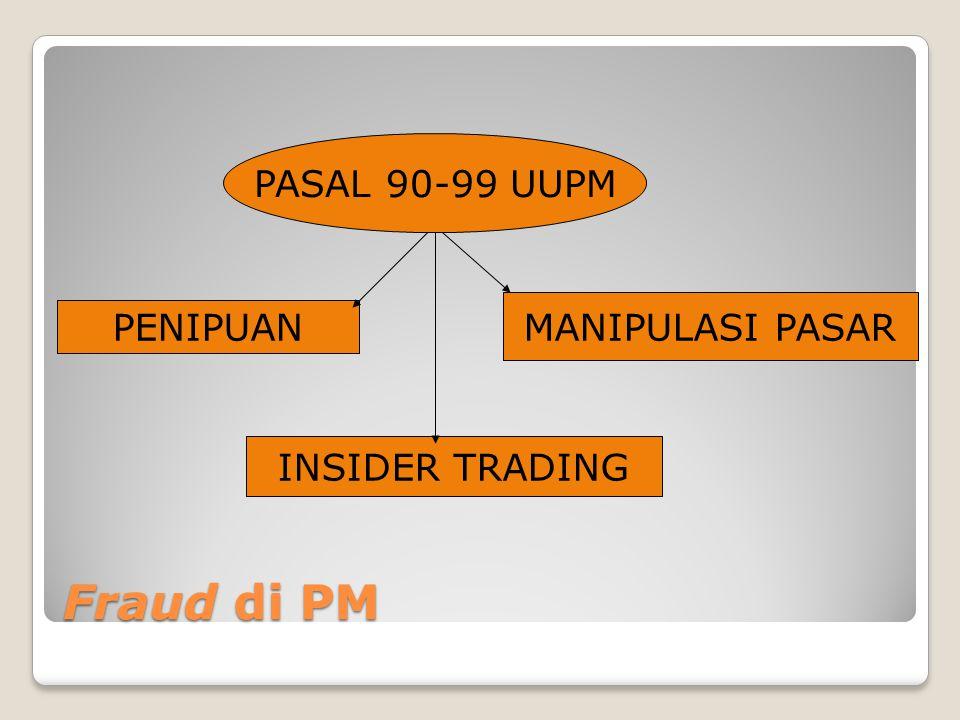 PENIPUAN MANIPULASI PASAR INSIDER TRADING PASAL 90-99 UUPM Fraud di PM