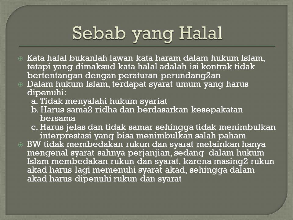  Kata halal bukanlah lawan kata haram dalam hukum Islam, tetapi yang dimaksud kata halal adalah isi kontrak tidak bertentangan dengan peraturan perun