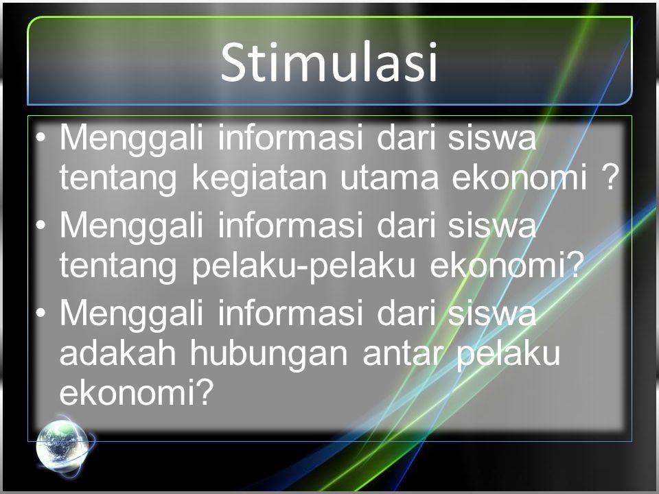 Stimulasi •Menggali informasi dari siswa tentang kegiatan utama ekonomi ? •Menggali informasi dari siswa tentang pelaku-pelaku ekonomi? •Menggali info