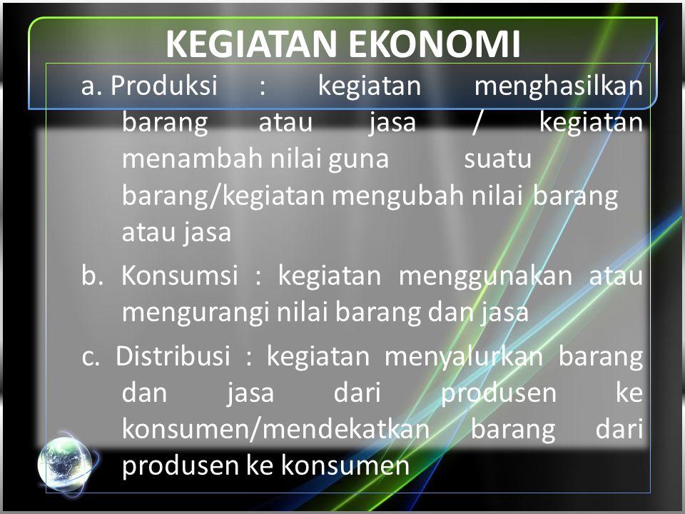 KEGIATAN EKONOMI a. Produksi: kegiatan menghasilkan barang atau jasa / kegiatan menambah nilai guna suatu barang/kegiatan mengubah nilai barang atau j
