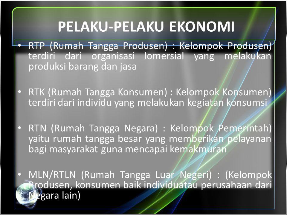 PELAKU-PELAKU EKONOMI • RTP (Rumah Tangga Produsen) : Kelompok Produsen) terdiri dari organisasi lomersial yang melakukan produksi barang dan jasa • R