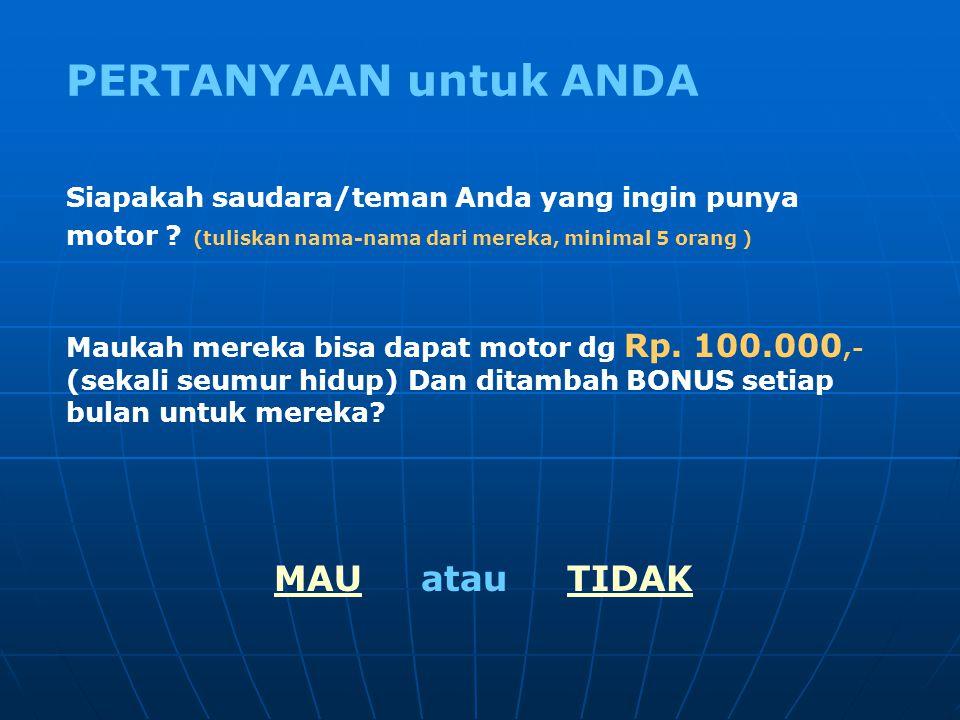 Apakah Anda mau hanya Rp. 100.000,- (sekali seumur hidup) mendapat 1 Motor Honda Supra Fit ? Dan bukan hanya itu, Anda juga akan mendapat keuntungan/