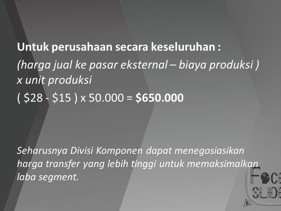 Untuk perusahaan secara keseluruhan : (harga jual ke pasar eksternal – biaya produksi ) x unit produksi ( $28 - $15 ) x 50.000 = $650.000 Seharusnya D