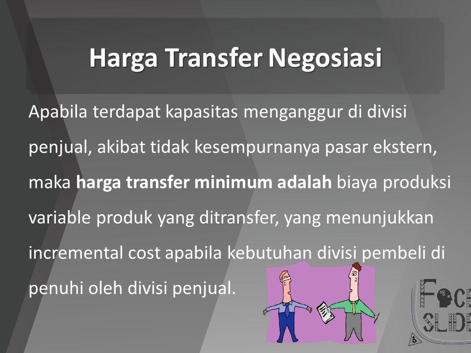 Harga Transfer Negosiasi Apabila terdapat kapasitas menganggur di divisi penjual, akibat tidak kesempurnanya pasar ekstern, maka harga transfer minimu