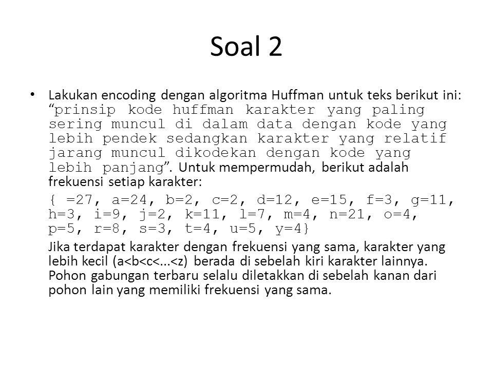 Soal 2 • Lakukan encoding dengan algoritma Huffman untuk teks berikut ini: prinsip kode huffman karakter yang paling sering muncul di dalam data dengan kode yang lebih pendek sedangkan karakter yang relatif jarang muncul dikodekan dengan kode yang lebih panjang .
