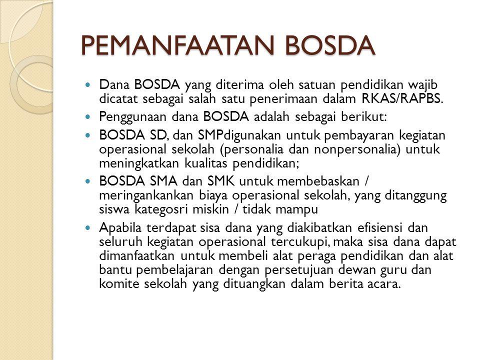 PEMANFAATAN BOSDA  Dana BOSDA yang diterima oleh satuan pendidikan wajib dicatat sebagai salah satu penerimaan dalam RKAS/RAPBS.  Penggunaan dana BO