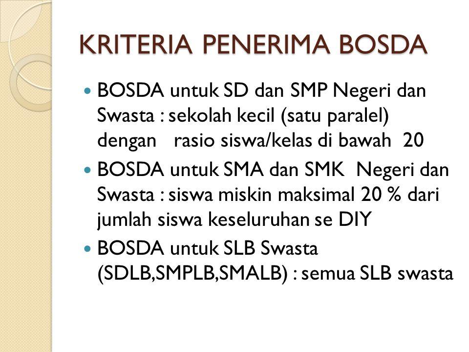 KRITERIA PENERIMA BOSDA  BOSDA untuk SD dan SMP Negeri dan Swasta : sekolah kecil (satu paralel) dengan rasio siswa/kelas di bawah 20  BOSDA untuk S