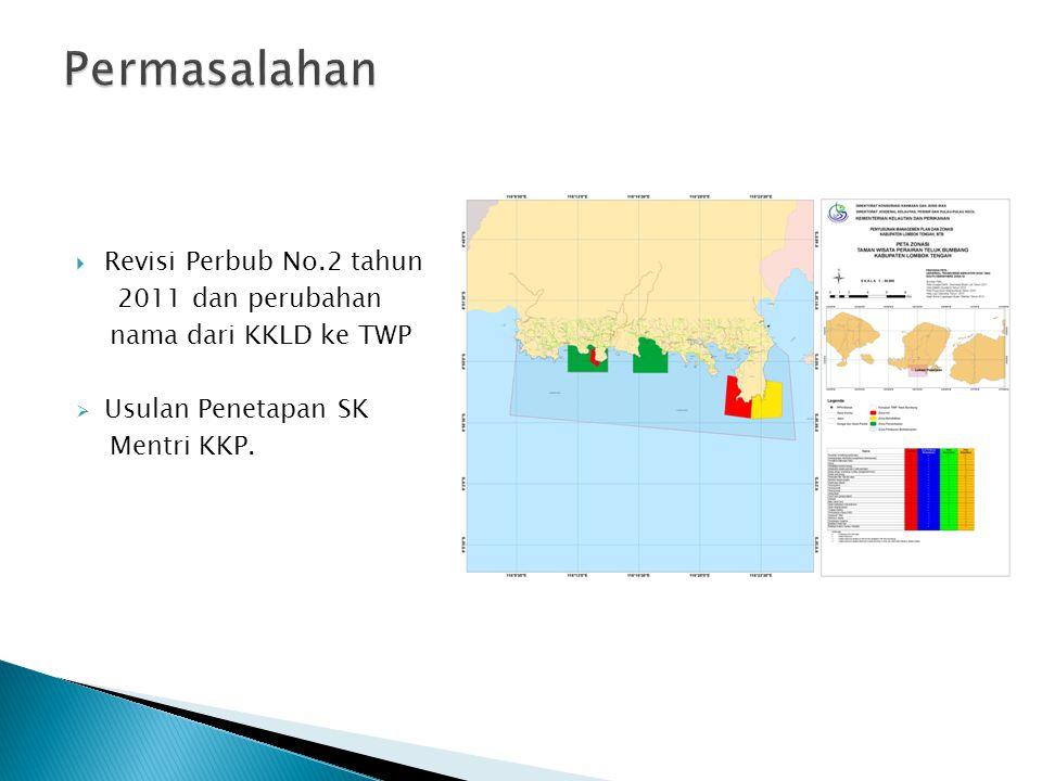  Revisi Perbub No.2 tahun 2011 dan perubahan nama dari KKLD ke TWP  Usulan Penetapan SK Mentri KKP.