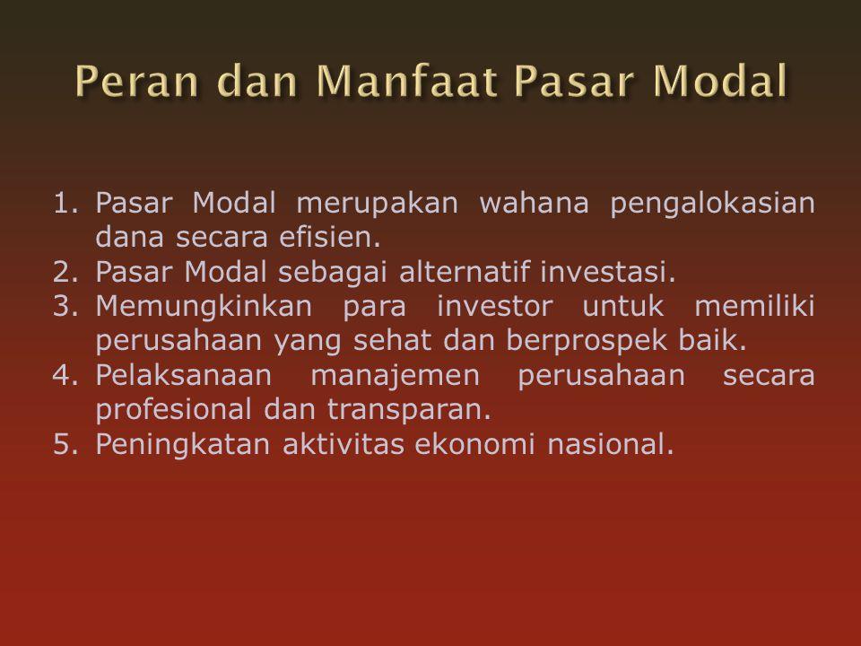 1.Pasar Modal merupakan wahana pengalokasian dana secara efisien.