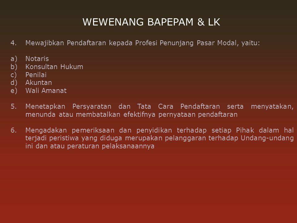 WEWENANG BAPEPAM & LK 1.Memberikan izin usaha kepada: a)Bursa Efek, b)Lembaga Kliring dan Penjaminan, c)Lembaga Penyimpanan dan Penyelesaian, d)Reksa
