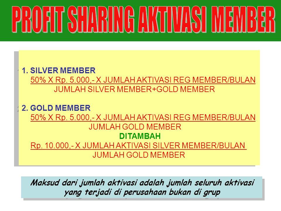 1. SILVER MEMBER 50% X Rp. 5.000,- X JUMLAH AKTIVASI REG MEMBER/BULAN JUMLAH SILVER MEMBER+GOLD MEMBER 2. GOLD MEMBER 50% X Rp. 5.000,- X JUMLAH AKTIV