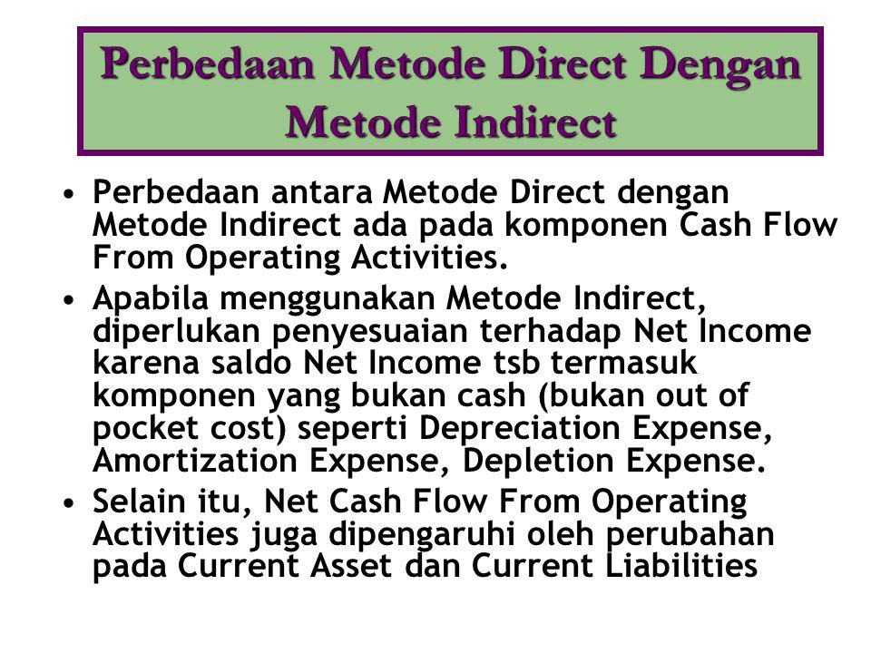 •Perbedaan antara Metode Direct dengan Metode Indirect ada pada komponen Cash Flow From Operating Activities. •Apabila menggunakan Metode Indirect, di
