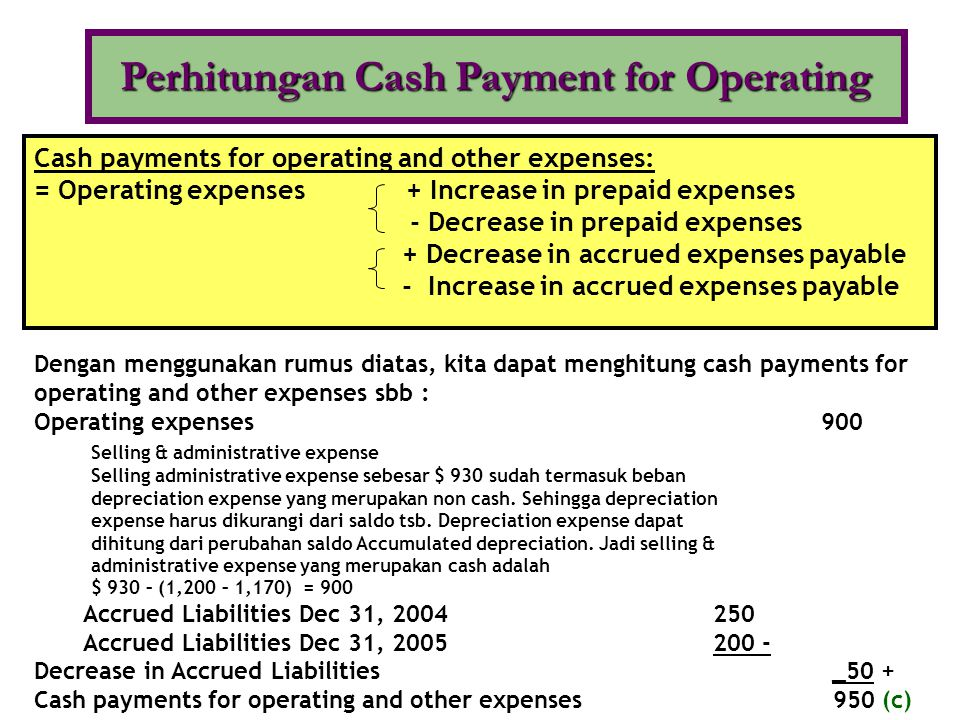 •From sales of goods or services •From returns on loans (interest) and returns on equity securities (dividends) •To suppliers for inventory •To employees for services •To government for taxes •To lenders for interest •To others for expenses InflowsOutflows Perhitungan Cash Payment Untuk Pajak Dari laporan Income Statement diketahui adanya pembayaran pajak kepada pemerintah (income tax expense) sebesar $ 540 (d)