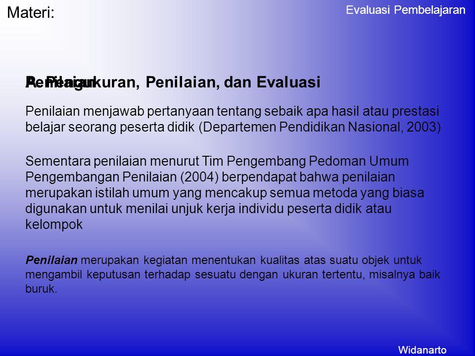 Widanarto Evaluasi Pembelajaran Materi: A.