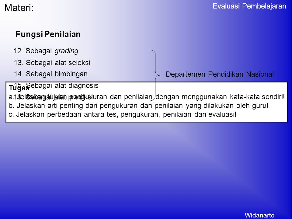 Widanarto Evaluasi Pembelajaran Fungsi Penilaian Materi: 5.