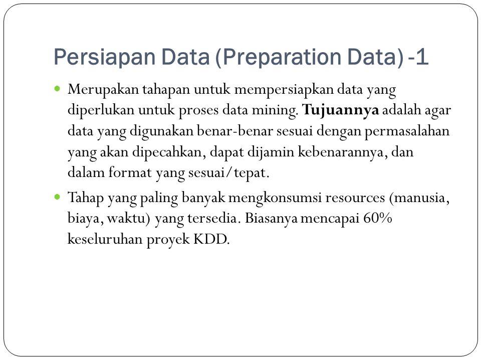 Persiapan Data (Preparation Data) -1  Merupakan tahapan untuk mempersiapkan data yang diperlukan untuk proses data mining. Tujuannya adalah agar data