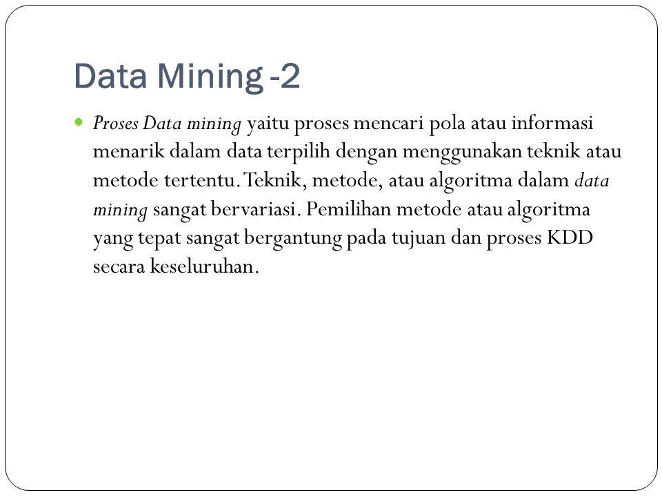 Data Mining -2  Proses Data mining yaitu proses mencari pola atau informasi menarik dalam data terpilih dengan menggunakan teknik atau metode tertent