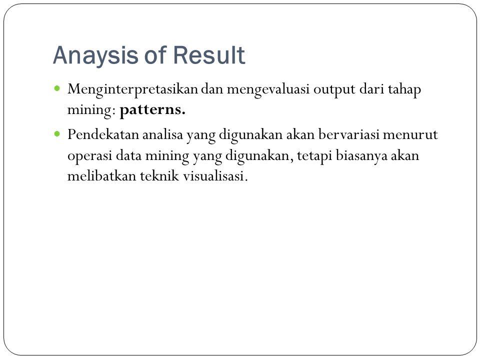 Anaysis of Result  Menginterpretasikan dan mengevaluasi output dari tahap mining: patterns.  Pendekatan analisa yang digunakan akan bervariasi menur
