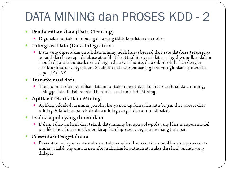DATA MINING dan PROSES KDD - 2  Pembersihan data (Data Cleaning)  Digunakan untuk membuang data yang tidak konsisten dan noise.  Intergrasi Data (D