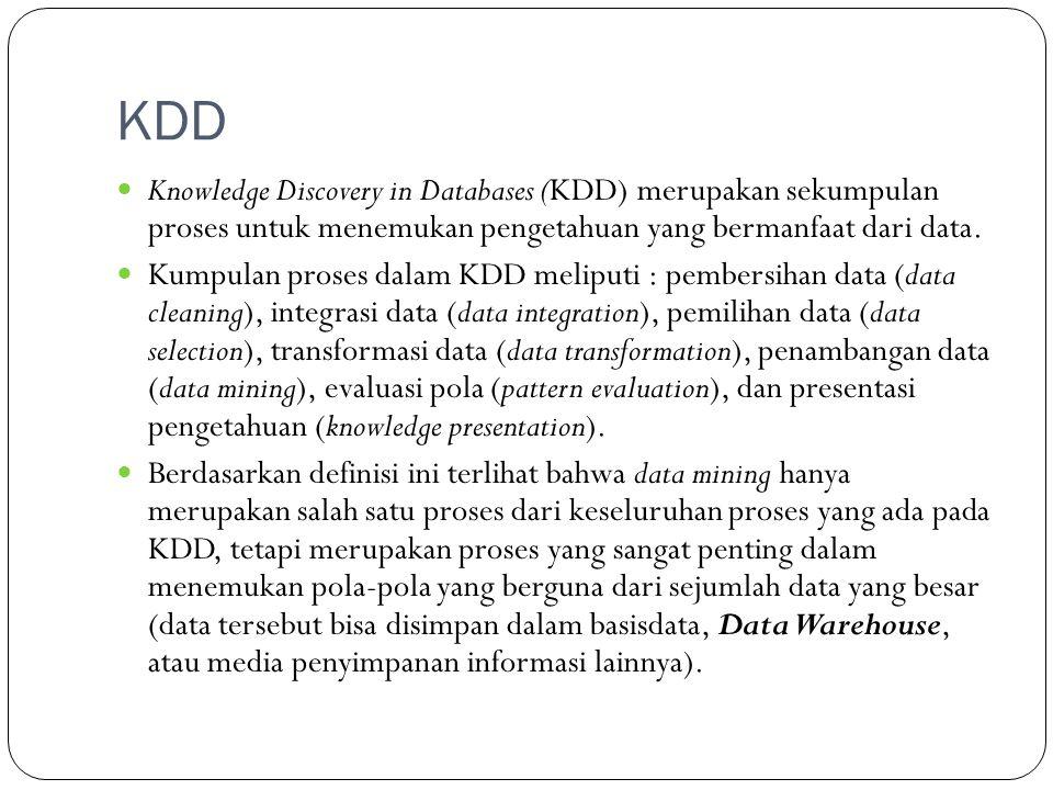 KDD  Knowledge Discovery in Databases (KDD) merupakan sekumpulan proses untuk menemukan pengetahuan yang bermanfaat dari data.  Kumpulan proses dala