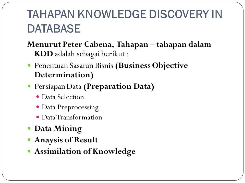 TAHAPAN KNOWLEDGE DISCOVERY IN DATABASE Menurut Peter Cabena, Tahapan – tahapan dalam KDD adalah sebagai berikut :  Penentuan Sasaran Bisnis (Busines