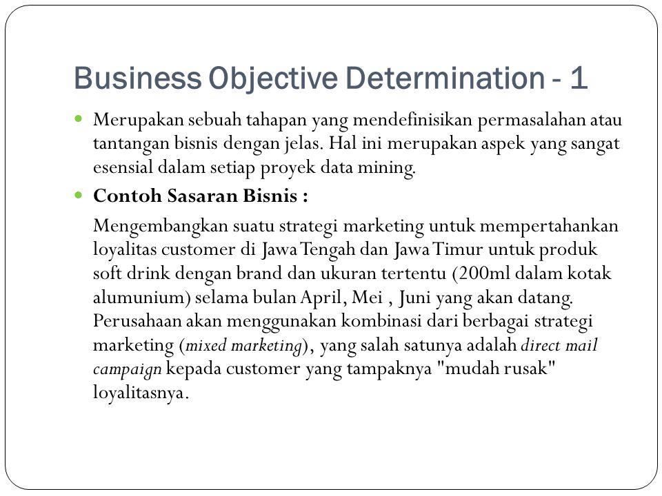 Business Objective Determination - 1  Merupakan sebuah tahapan yang mendefinisikan permasalahan atau tantangan bisnis dengan jelas. Hal ini merupakan
