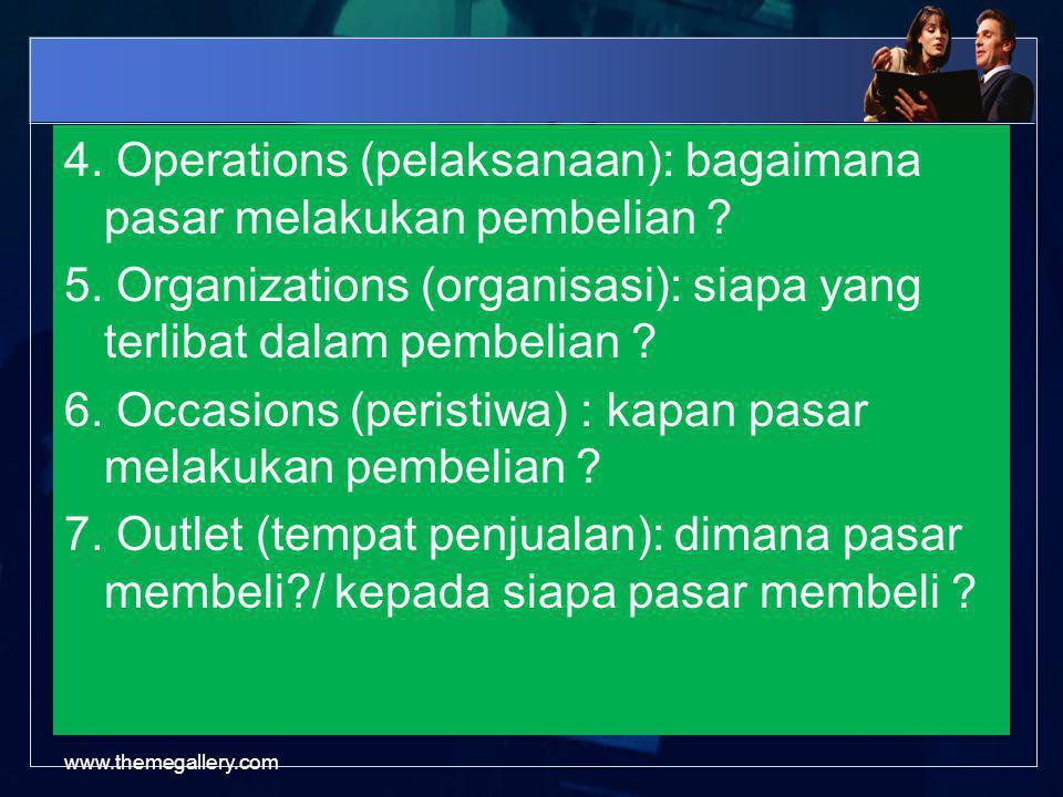 4.Operations (pelaksanaan): bagaimana pasar melakukan pembelian .