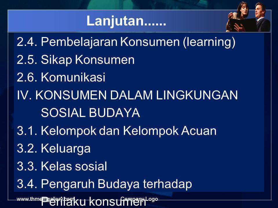 Lanjutan......2.4. Pembelajaran Konsumen (learning) 2.5.