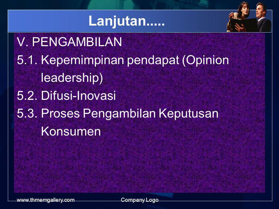 Lanjutan.....V. PENGAMBILAN 5.1. Kepemimpinan pendapat (Opinion leadership) 5.2.