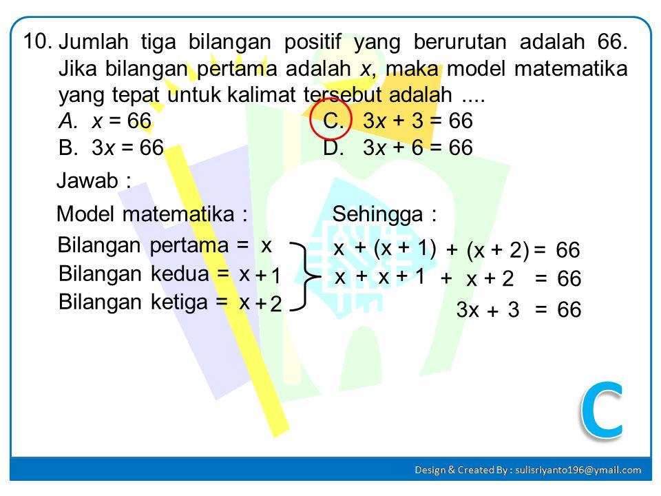 Faktor dari 3x 2 + 5x – 2 adalah.... A.(3x – 1)(x + 2)C. (3x – 2)(x + 1) B.(3x + 1)(x – 2)D. (3x + 2)(x – 1) 9. Jawab : 3x 2 + 5x – 2 = pq = -6 p + q