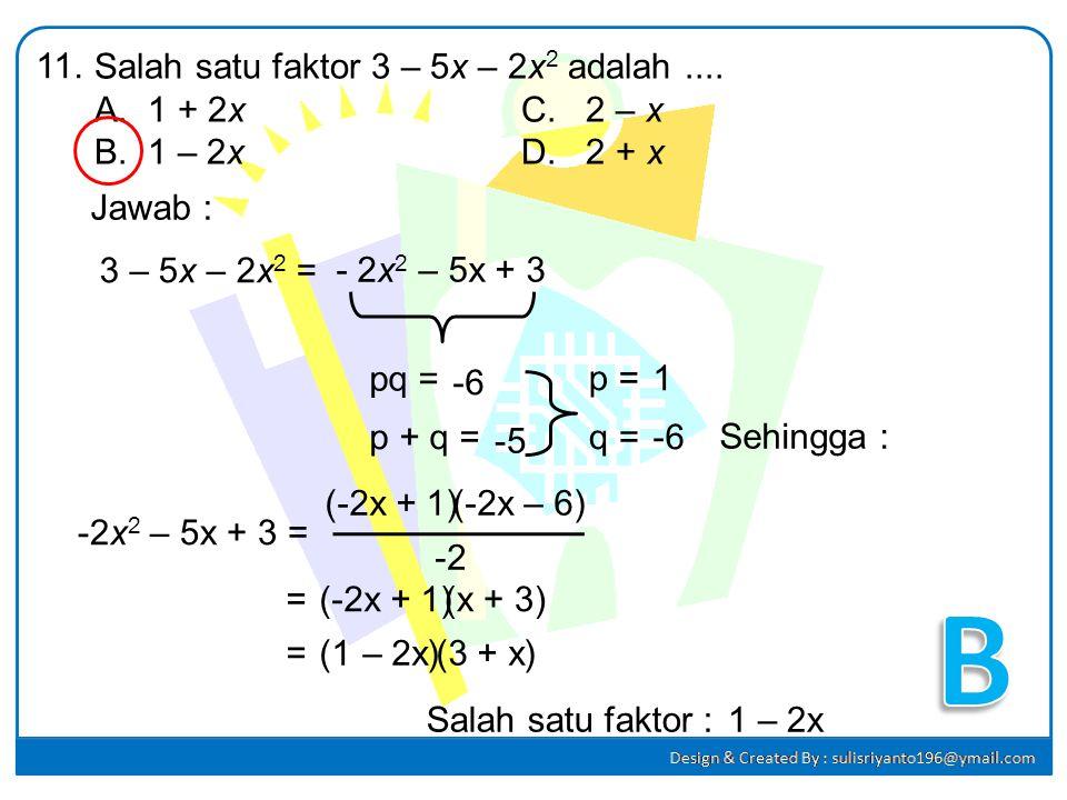 Jumlah tiga bilangan positif yang berurutan adalah 66. Jika bilangan pertama adalah x, maka model matematika yang tepat untuk kalimat tersebut adalah.