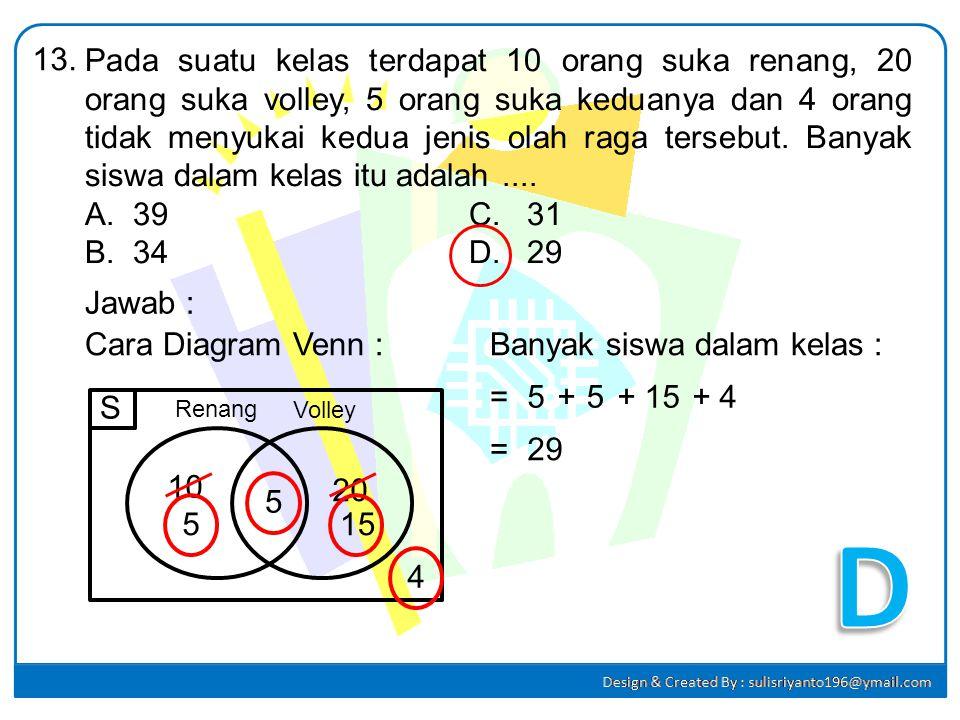 Penyelesaian dari : 2(x + 3) + 3 < 3(x – 1) – 5 adalah.... A.x > 17C. x < 1 B.x > -1D. x < 17 12. Jawab : 2(x + 3) + 3 < 3(x – 1) – 5 2x+6+3<3x – 3 –
