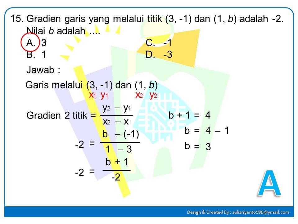 Sebuah fungsi dirumuskan f(x) = ax + b. Jika f(3) = 0 dan f(2) = 2, maka nilai f(-5) adalah.... A.-10C. 6 B.4D. 16 14. Jawab : f(x) = ax + b f(3) = 0