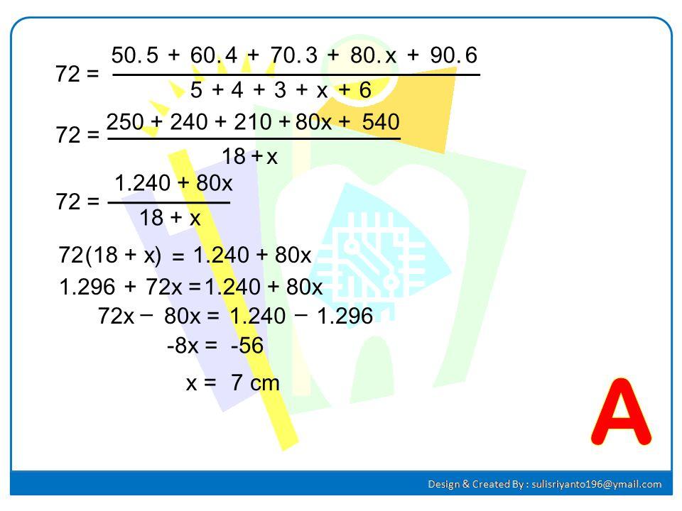 37.37. Perhatikan diagram batang berikut ! Jika rata-rata nilai siswa adalah 72, maka banyak siswa yang mendapat nilai 80 adalah.... A.7C. 5 B.6D. 4 J
