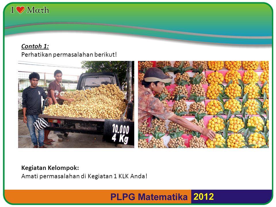 Contoh 2: Seorang pedagang menjual buah mangga dan buah pisang menggunakan gerobak.