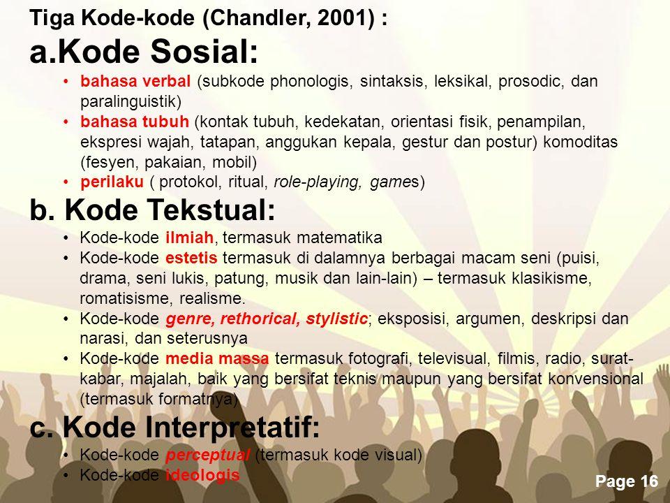 Free Powerpoint Templates Page 16 Tiga Kode-kode (Chandler, 2001) : a.Kode Sosial: •bahasa verbal (subkode phonologis, sintaksis, leksikal, prosodic,